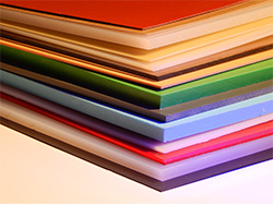 assortment of plastic sheets by color